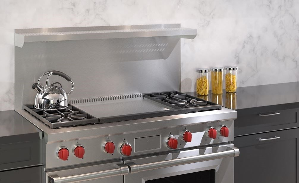 "The Wolf 48"" Dual Fuel Range 4 Burner Infrared Dual Griddle (DF484DG) blends seamlessly with modern contemporary kitchen styles."