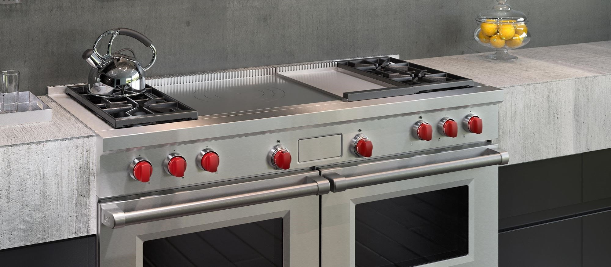 "Wolf 60"" Dual Fuel Range 4 Burner Infrared Griddle French Top (DF604GF)"