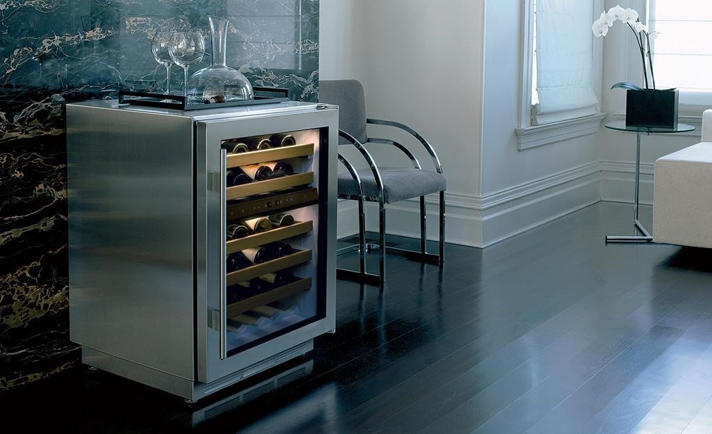 "The Sub-Zero 24"" Freestanding Undercounter Wine (ICBUW-24FS/S) elevates the look of any room with a seamless design."