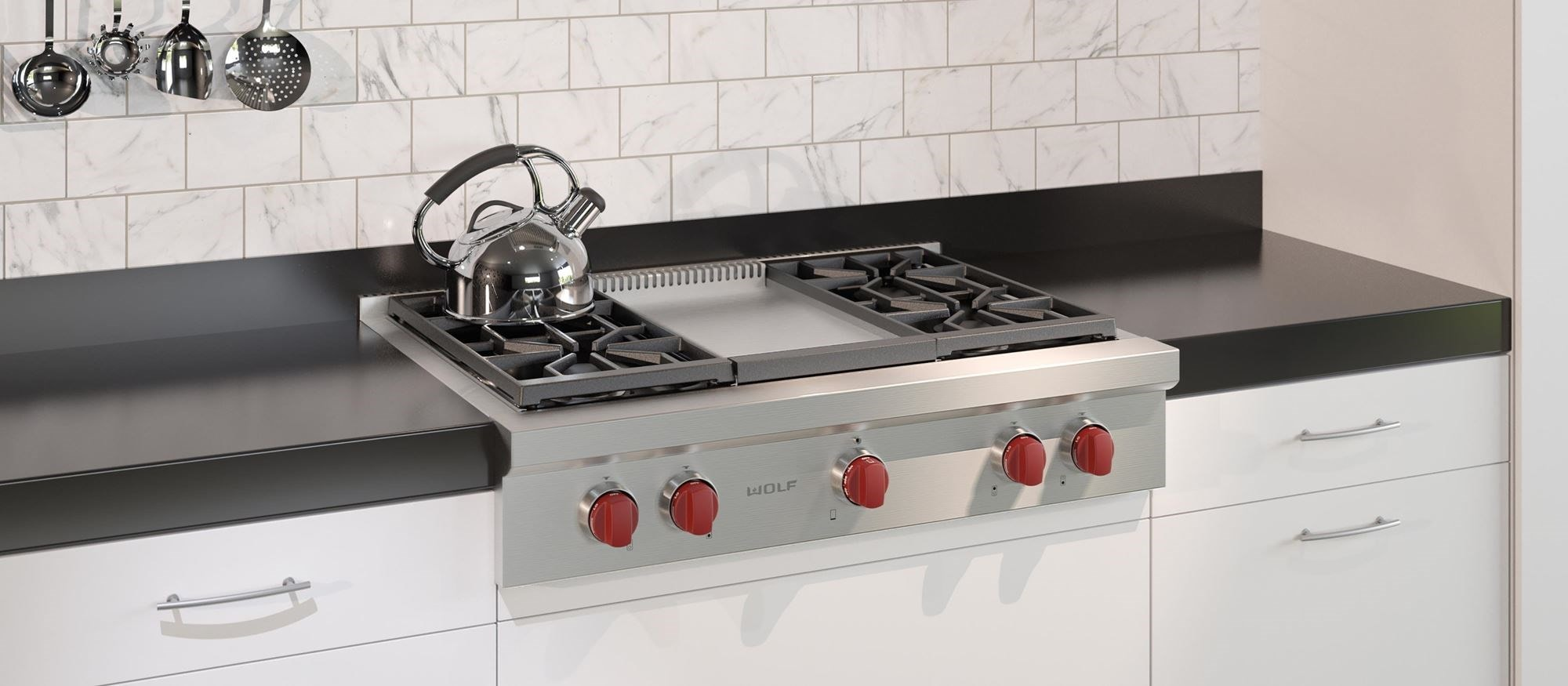 Wolf 36 Sealed Burner Rangetop 4 Burners And Infrared Griddle Srt364g