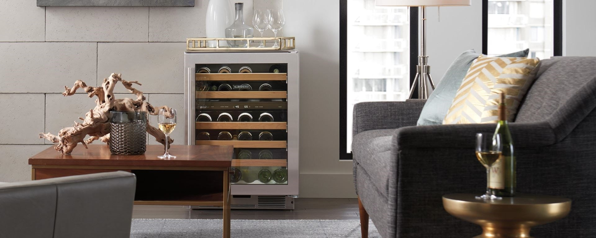 Sub-Zero free standing, stainless steel, glass door wine fridge