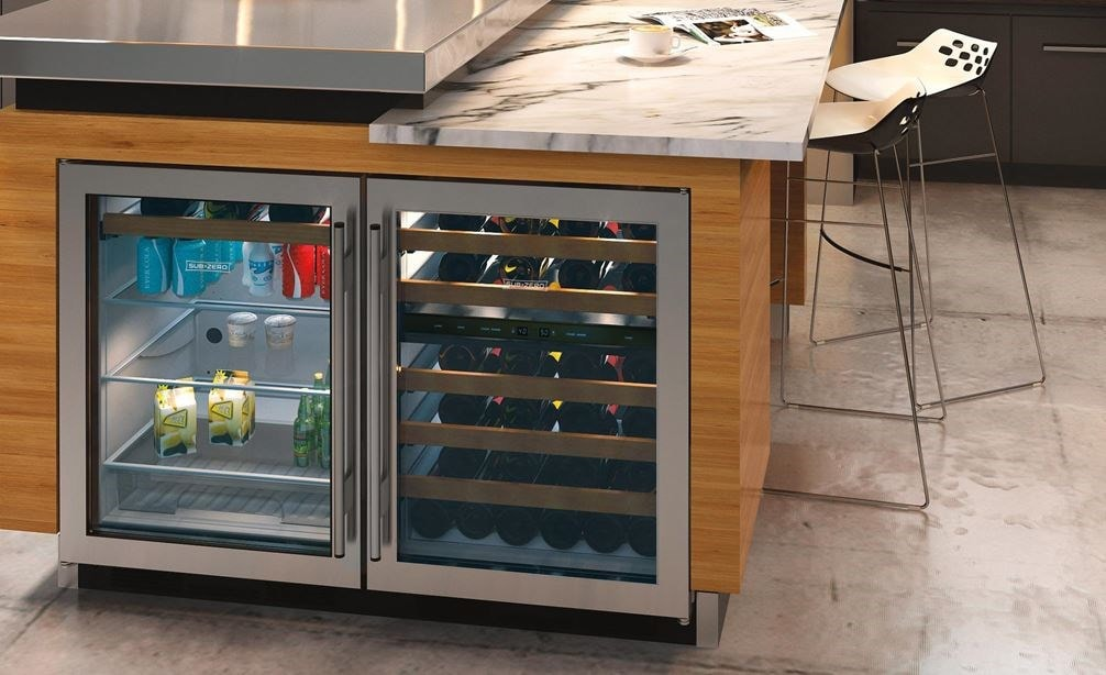 "Sub-Zero 24"" Undercounter Wine (UW-24/S) paired with 42"" Classic Side by Side Refrigerator Freezer (BI-42S/S) - Formerly Built-In"