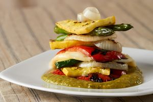 Grilled Vegetable Stack with Oaxaca Cheese and Tomatillo Lime Avocado Sauce
