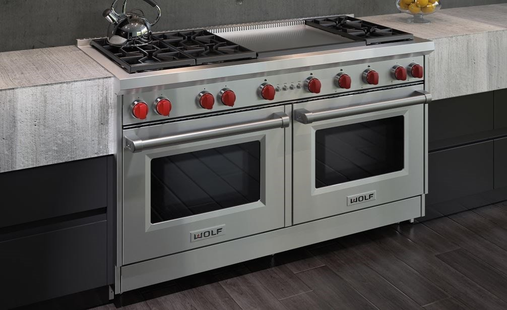 "The Wolf 60"" Gas Range 6 Burner Infrared Dual Griddle (GR606DG) Rangetop with Wolf 60"" Pro Wall Hood - 24"" Depth (PW602418)"