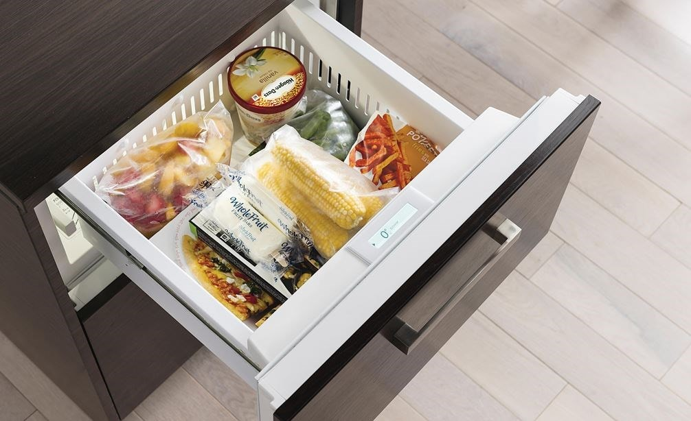 "The Sub-Zero 24"" Freezer Drawers with Ice Maker Panel Ready (ID-24FI) is compact yet can hold 3.8 cu. ft. of food in two storage drawers."