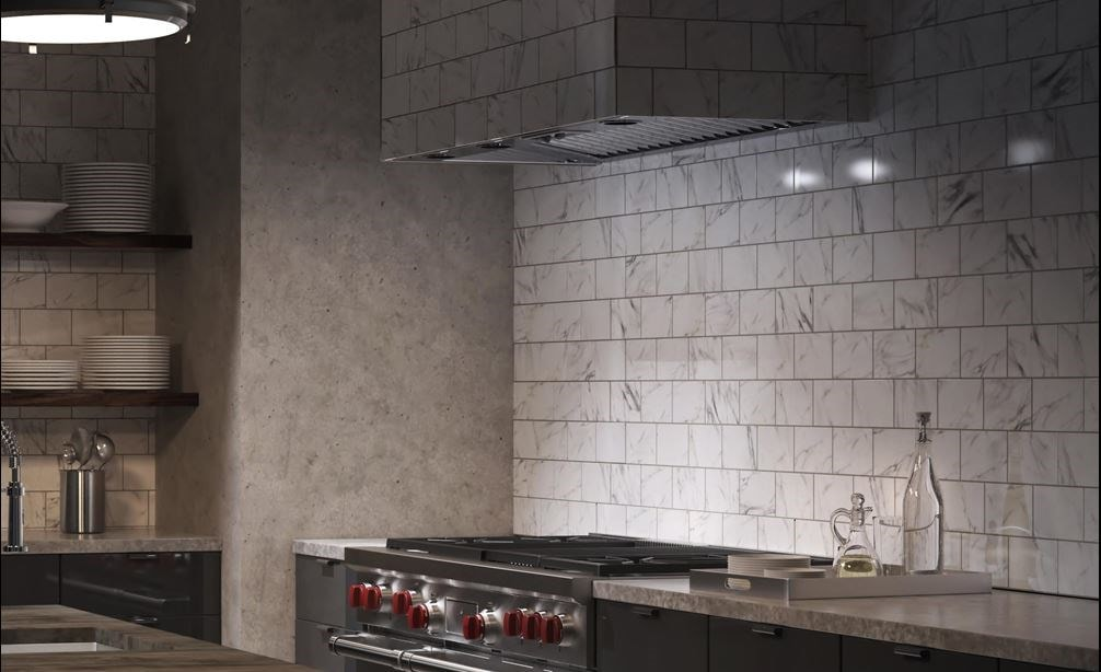 "Wolf 58"" Pro Hood Liner - 22"" Depth (PL582212) shown set in brick range hood in urban kitchen design featuring Wolf Professional appliances"