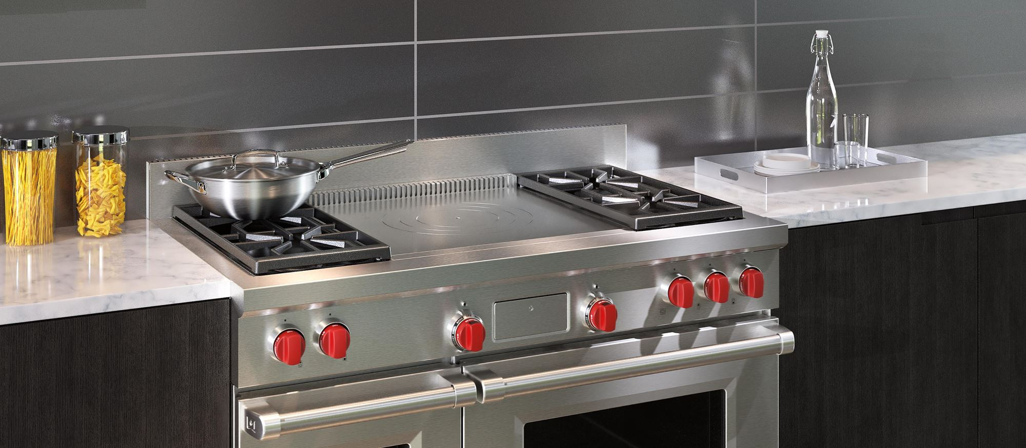 "Wolf 48"" Dual Fuel Range 4 Burners and French Top (DF484F)"