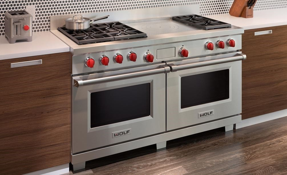 "The Wolf 60"" Dual Fuel Range 6 Burner French Top (DF606F) shown with Wolf Two-Slice-Toaster with Red Knob (WGTR102S)"