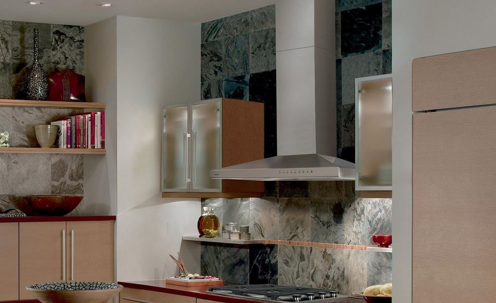 "The Wolf 36"" Cooktop Wall Hood - Stainless (VW36S) featured with Wolf 30"" Transitional Gas Cooktop - 4 Burners (CG304T/S)"