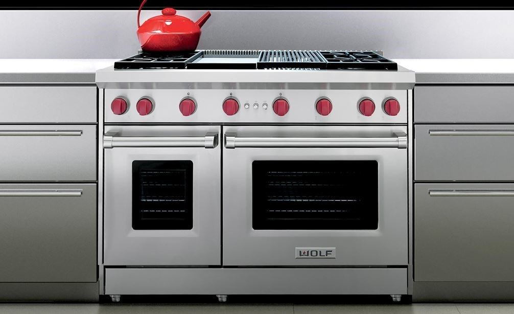 "The Wolf 48"" Gas Range 4 Burner Infrared Charbroiler Infrared Griddle (GR484CG) shown in a contemporary modern kitchen design"