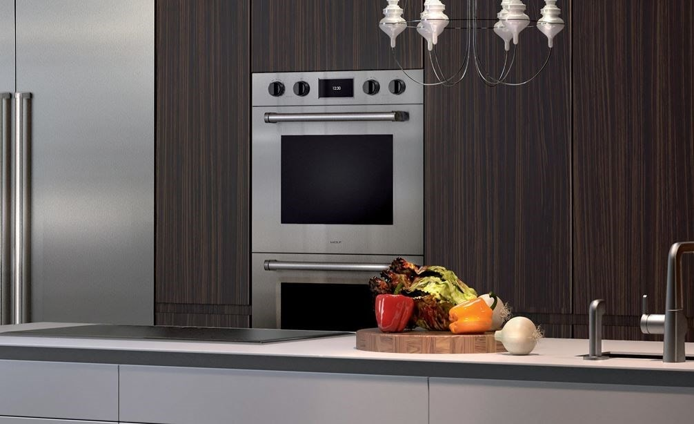 "The Wolf 30"" M Series Professional Double Oven (DO30PM/S/PH) shown integrated into a rustic minimalist kitchen design style"
