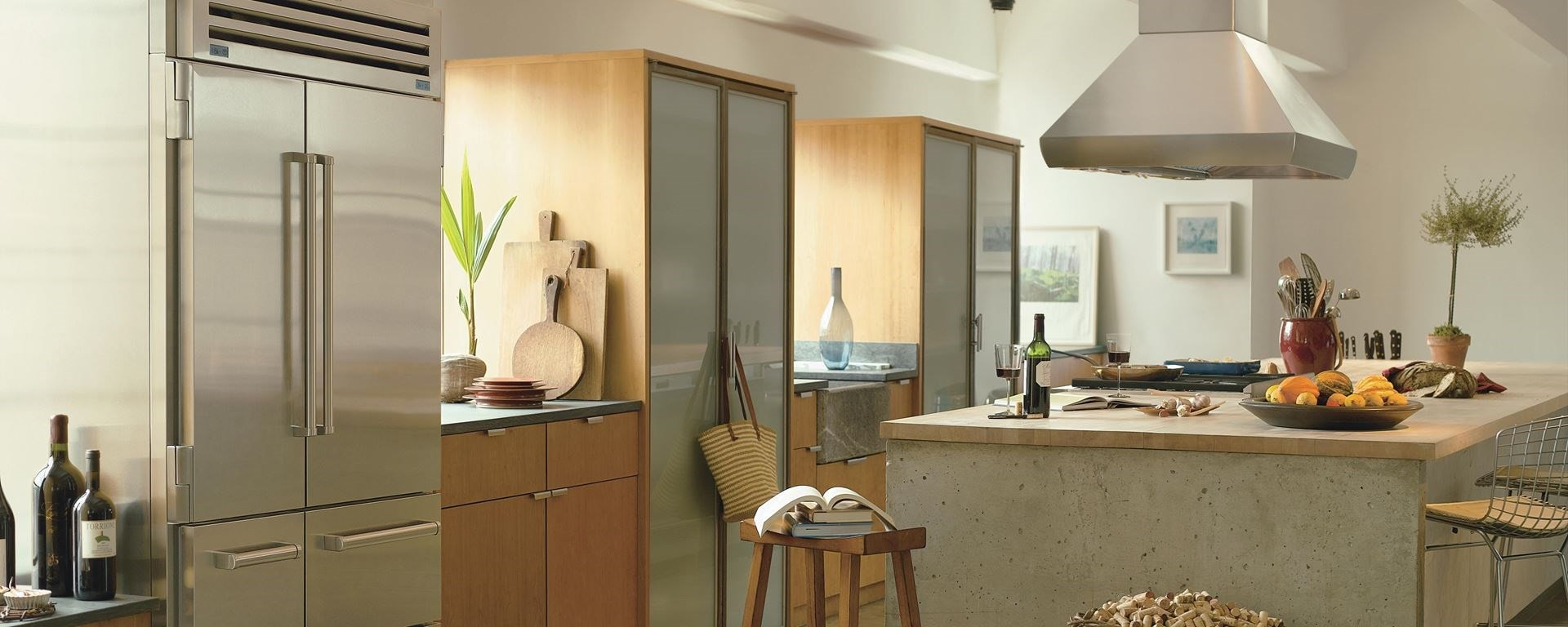 Sub-Zero Pro 48 anchoring a Sub-Zero, Wolf, and Cove kitchen design