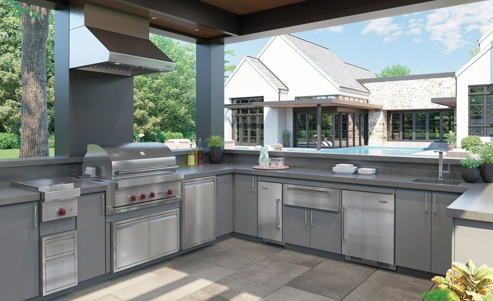 "The Sub-Zero 15"" outdoor ice maker (UC-15IO) is the perfect complement to your outdoor kitchen space."