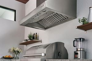 "Wolf 36"" Outdoor Gas Grill (OG36) shown with Wolf Professional Grade Outdoor Ventilation Hood (PW363318O)."