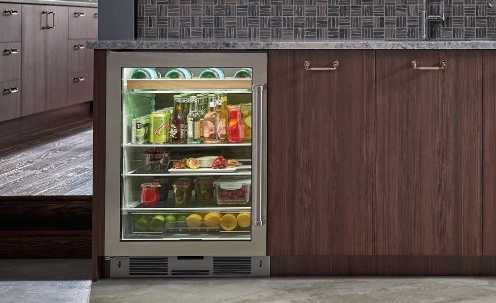 "Sub-Zero 24"" Undercounter Beverage Center (UC-24BG/S) paired with Sub-Zero 24"" Undercounter Wine (UW-24/S)"