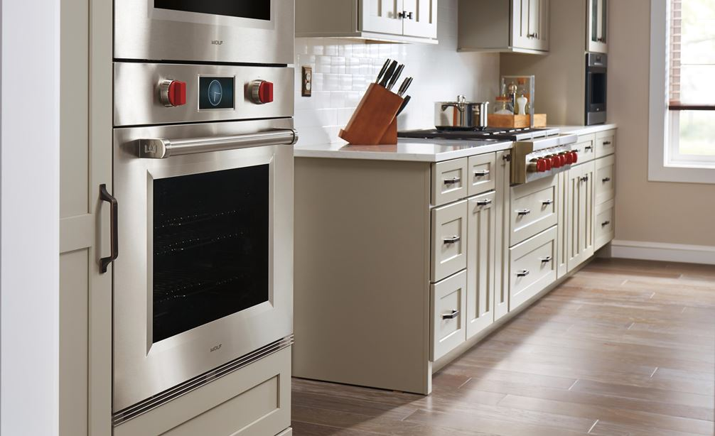 "Wolf 30"" M Series Professional Single Oven (SO30PM/S/PH) shown using flush inset installation option for custom kitchen design"