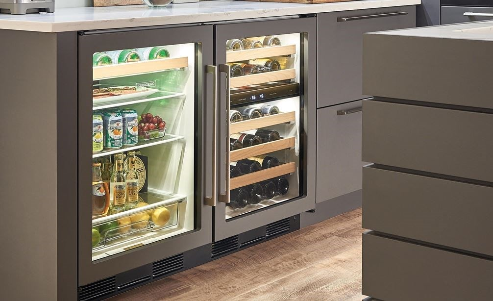"The Sub-Zero 24"" Undercounter Beverage Center Panel Ready (UC- 24BG/O) paired with 24"" Undercounter Wine Storage (UW-24/O)"