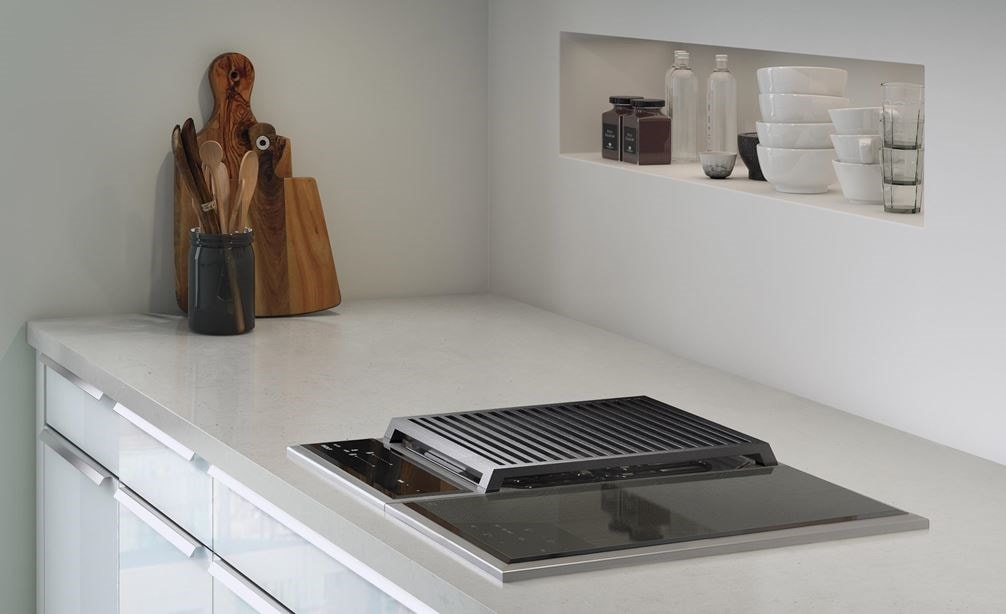 "The Wolf 15"" Transitional Induction Cooktop (CI152TF/S) displayed in a clean bright minimalist kitchen design space"