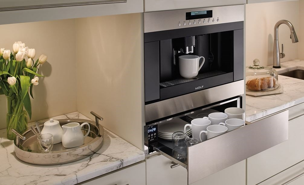 "Wolf 24"" Cup Warming Drawer Stainless Steel (CW24/S) paired with 24"" Coffee System (EC24/S) makes the ultimate coffee station"