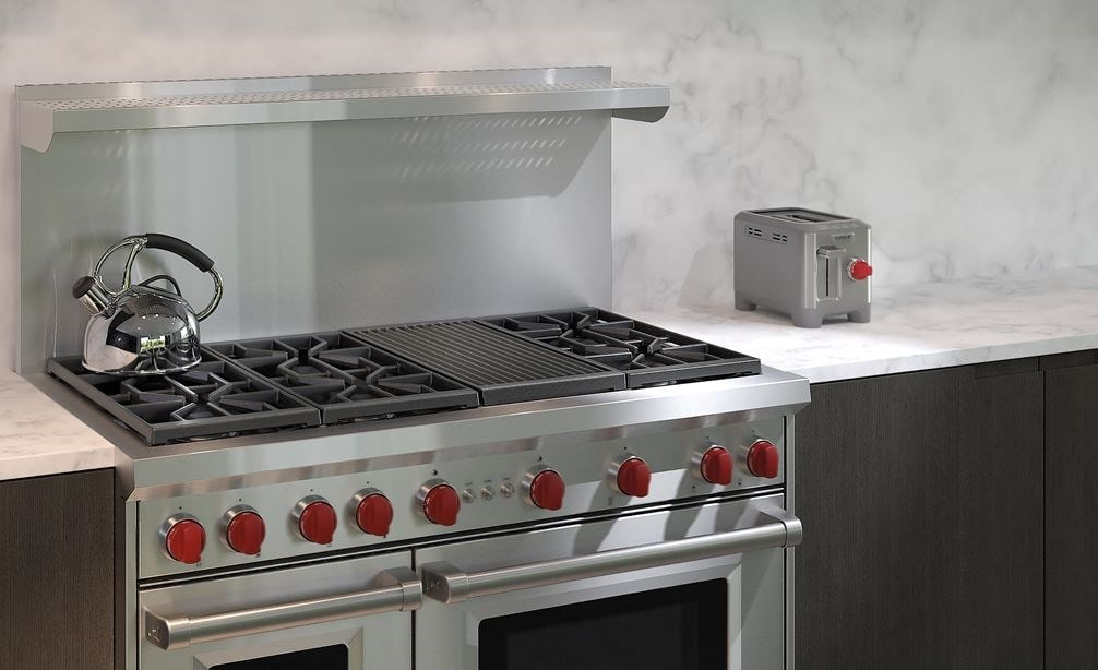 "The Wolf 48"" Gas Range 6 Burner Infrared Charbroiler (GR486C) with Wolf 48"" Pro Wall Hood - 24"" Depth (PW482418)"