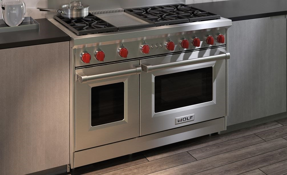"The Wolf 48"" Gas Range 6 Burner Infrared Griddle (GR486G) Rangetop with Wolf 48"" Pro Wall Hood - 24"" Depth (PW482418)"