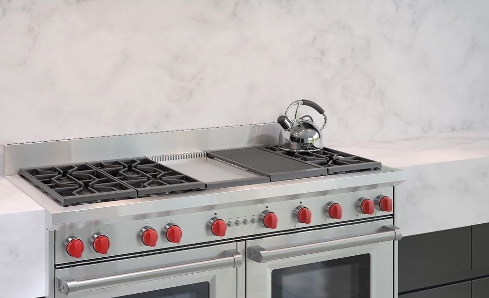 "The Wolf 60"" Gas Range 6 Burner Infrared Charbroiler Griddle (GR606CG) with Wolf 60"" Pro Wall Hood - 24"" Depth (PW602418)"
