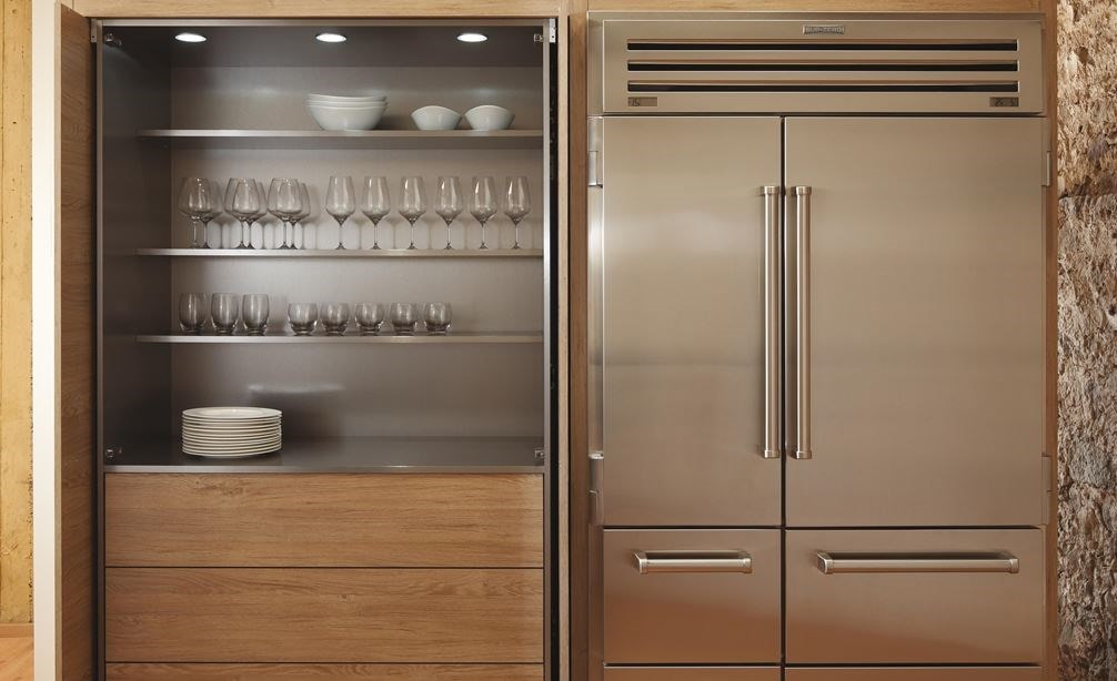 "The Sub-Zero 48"" PRO Refrigerator Freezer with Icemaker displayed in a compact space saving design."