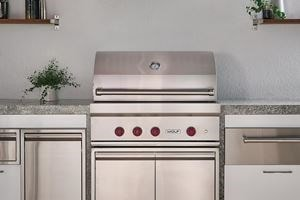 "Wolf 36"" outdoor grill (OG36) elegantly paired with the Wolf 36"" pro ventilation (PW4833180)"