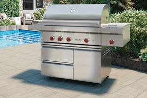 "Wolf 42"" outdoor freestanding grill conveniently brings the power of Wolf cooking to wherever you need it."