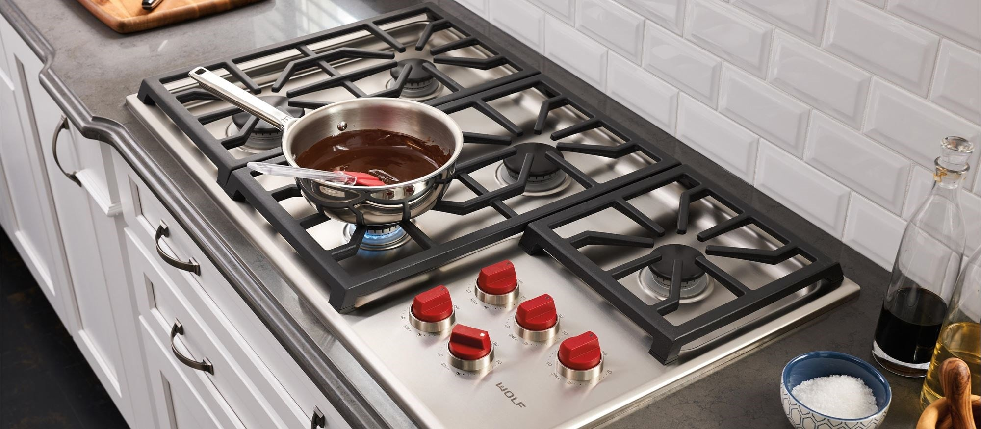 "Gas Countertop Range Kitchen Cooktops: Wolf 36"" Professional Gas Cooktop"