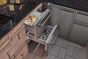 "Sub-Zero 24"" Refrigerator Drawers (ID-24RO) fit expertly into any outdoor kitchen design while providing noiseless operation."