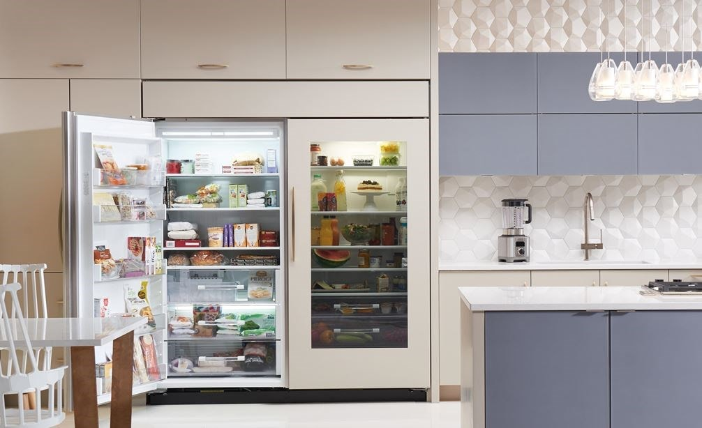 "Interior view of Sub-Zero 36"" Classic Freezer Panel Ready (BI-36F/O) and 36"" Classic Glass Door Refrigerator Panel Ready (BI-36RG/O)"