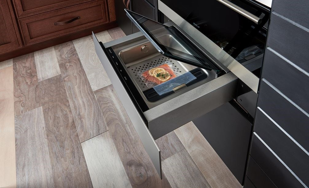 "The Wolf 24"" Vacuum Seal Drawer (VS24) shown adding power and performance in a traditional kitchen design"