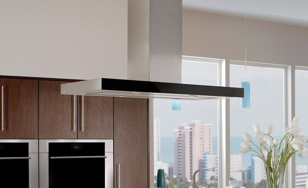 "The Wolf 42"" Cooktop Island Hood - Black (VI42B) displayed in modern kitchen featuring dark wood cabinetry and stainless-steel accents"