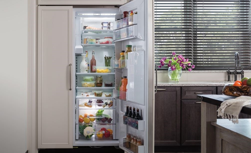 "Interior view of Sub-Zero 42"" Classic Side by Side Refrigerator Freezer with Dispenser Panel Ready (BI-42SD/O)"