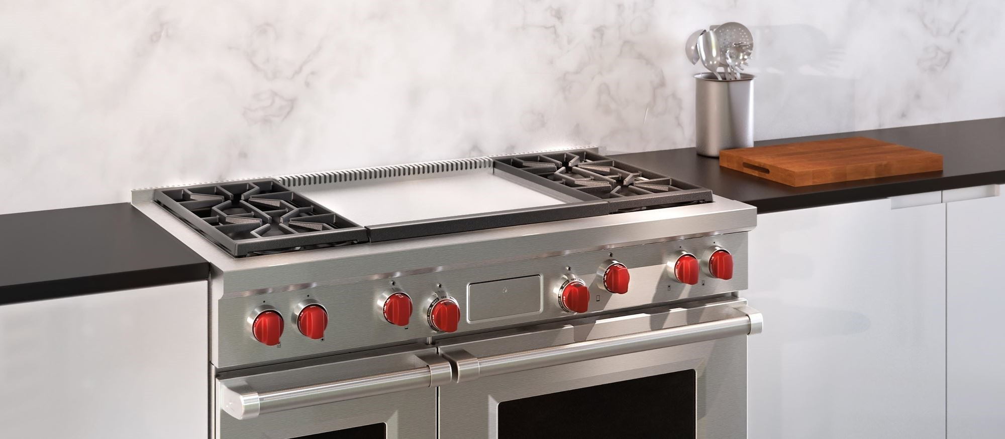 "Wolf 48"" Dual Fuel Range 4 Burners and Infrared Dual Griddle (DF484DG)"