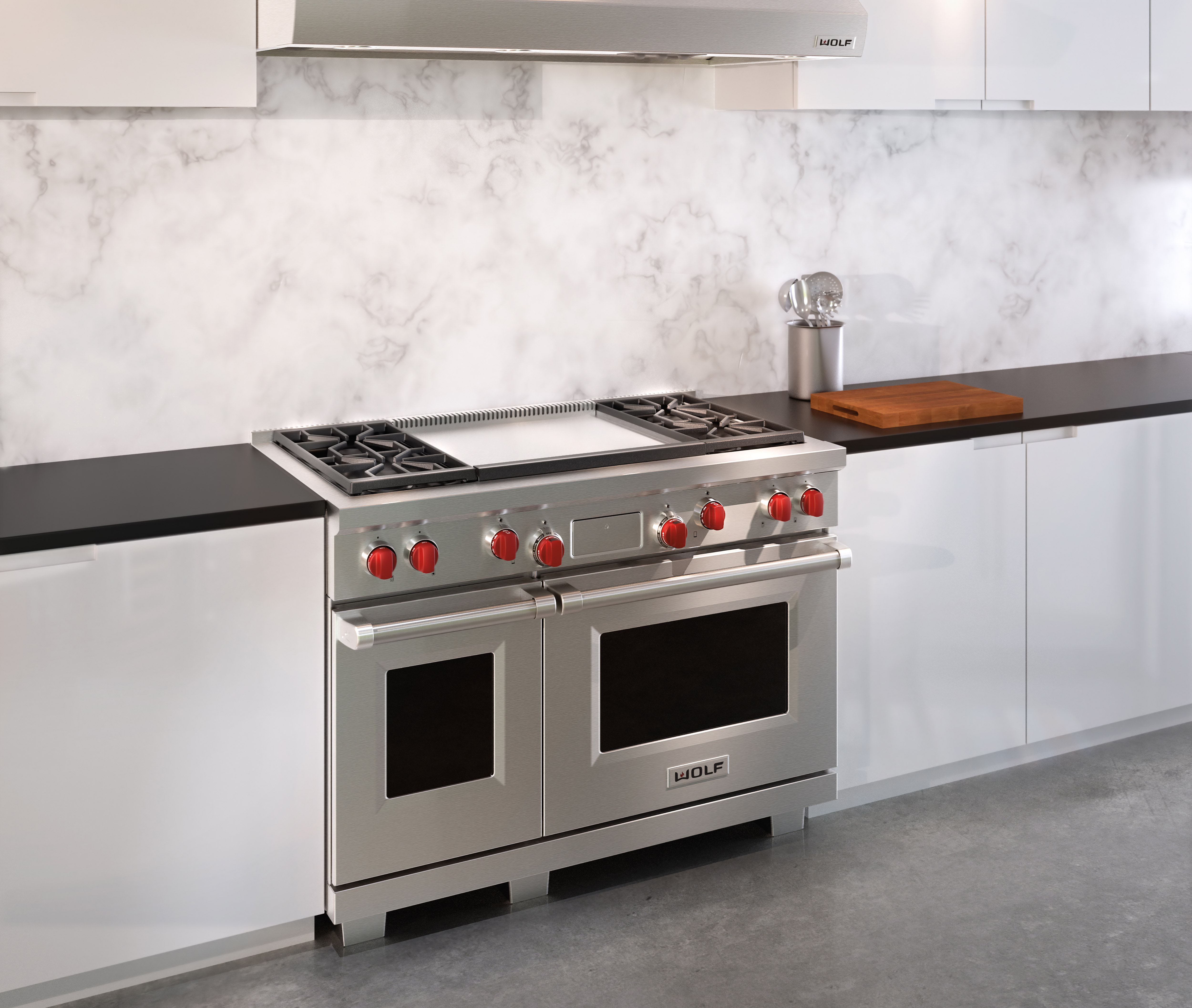 Wolf 48u0026quot; Dual Fuel Range 4 Burners And Infrared Dual Griddle (DF484DG)