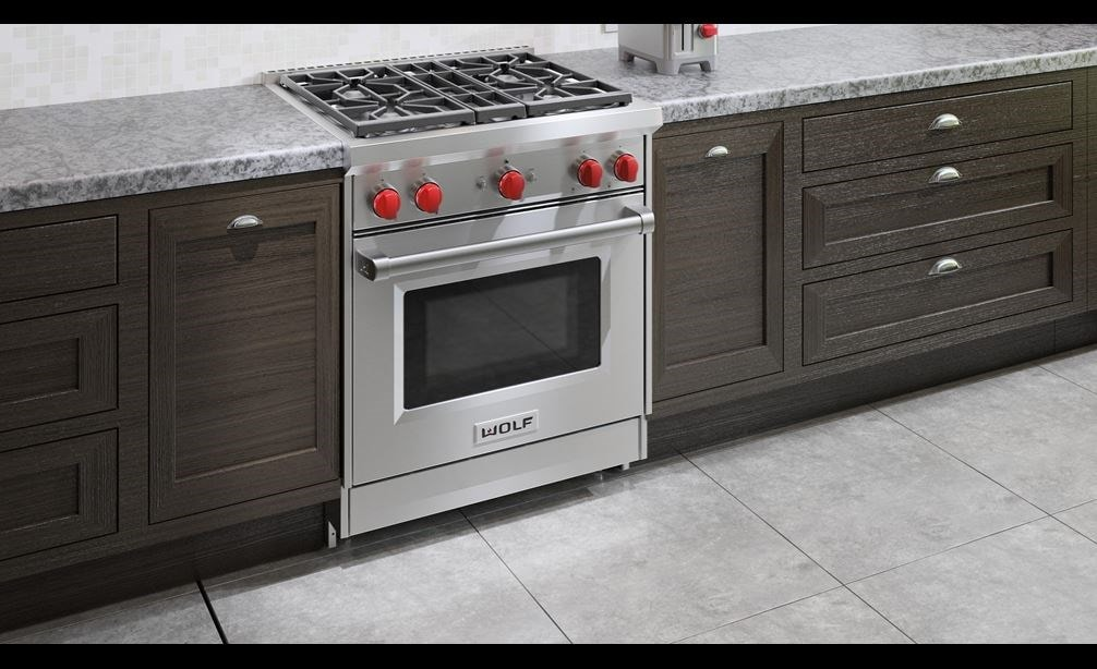 "Wolf 30"" Gas Range (GR304) Rangetop featuring stainless steel construction and brushed finish offering seamless integration into any kitchen"
