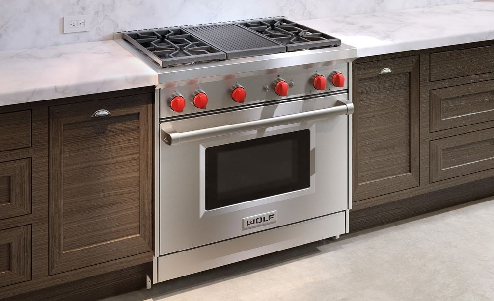 "Wolf 30"" Gas Range (GR364C) Rangetop features stainless steel construction and classic brushed finish for seamless integration into any kitchen"