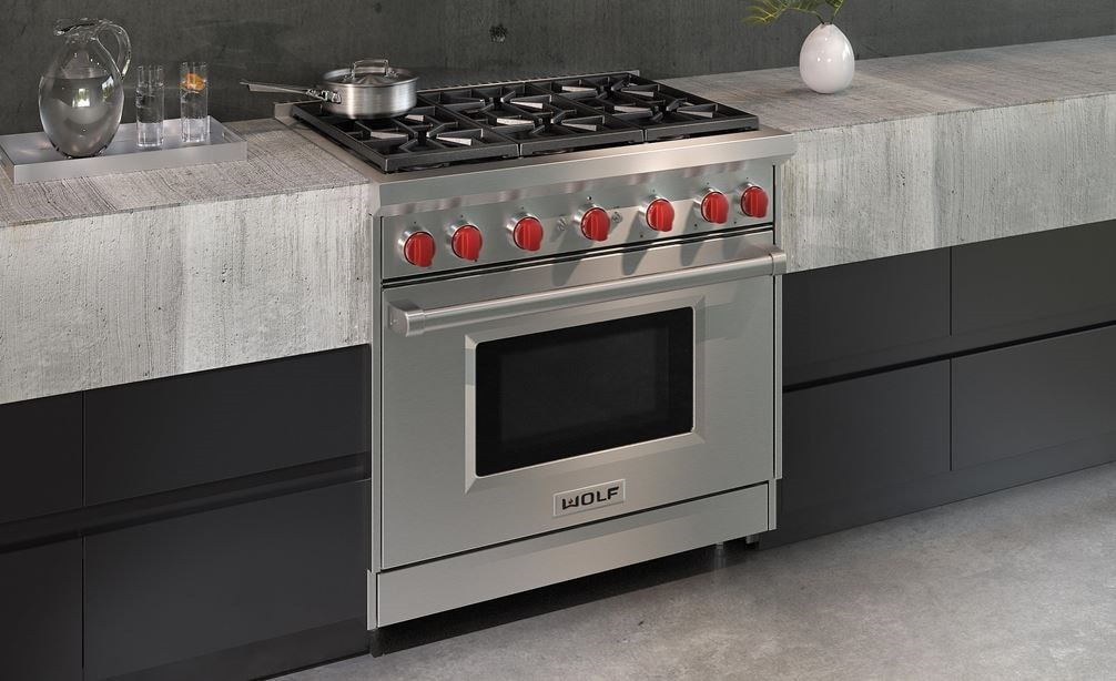 "The Wolf 36"" Gas Range 6 Burner (GR366) Rangetop shown displaying performance features born of professional kitchens."