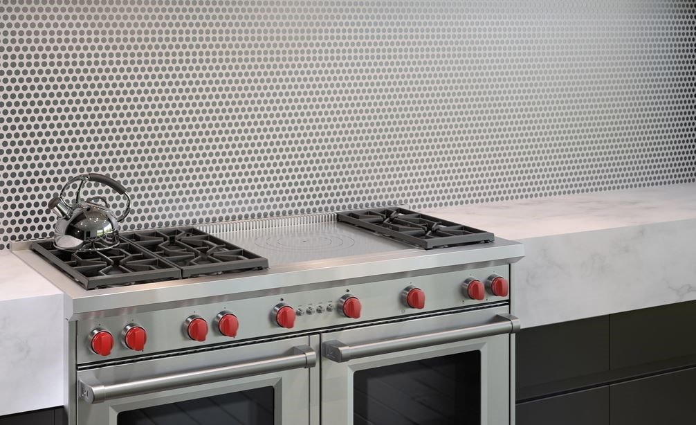 "The Wolf 60"" Gas Range 6 Burner French Top (GR606F) Rangetop with Wolf 60"" Pro Wall Hood - 24"" Depth (PW602418)"