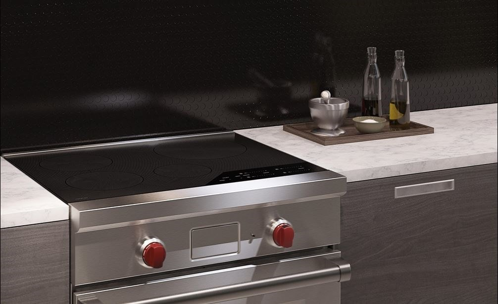 "The Wolf 30"" Professional Induction Range (IR304PE/S/PH) shown with Wolf 30"" Pro Wall Hood - 24"" Depth (PW302418)"