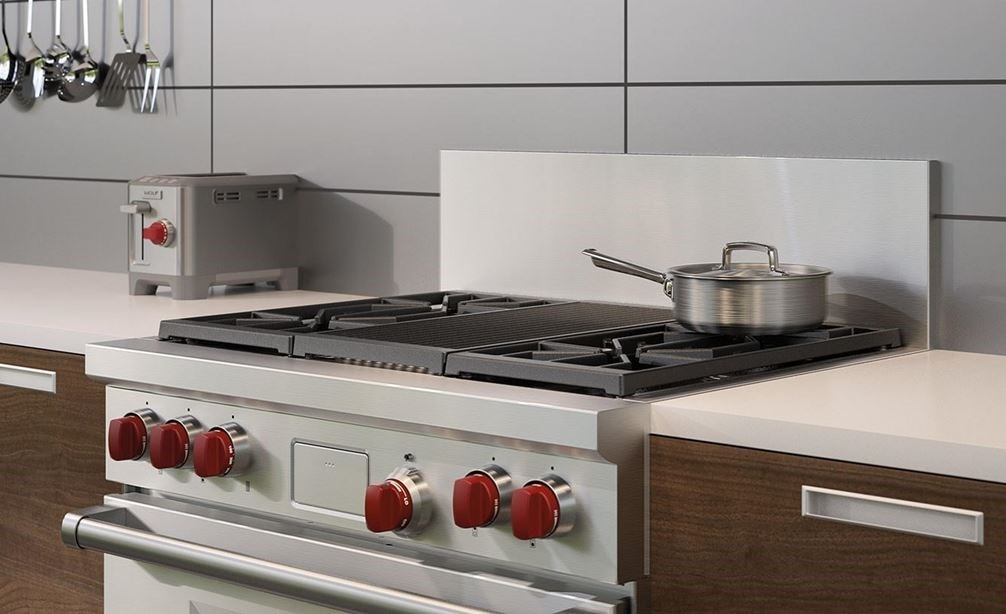 "The Wolf 36"" Dual Fuel Range 4 Burner Infrared Charbroiler (DF364C) with Wolf 46"" Pro Hood Liner - 22"" Depth (PL462212)"