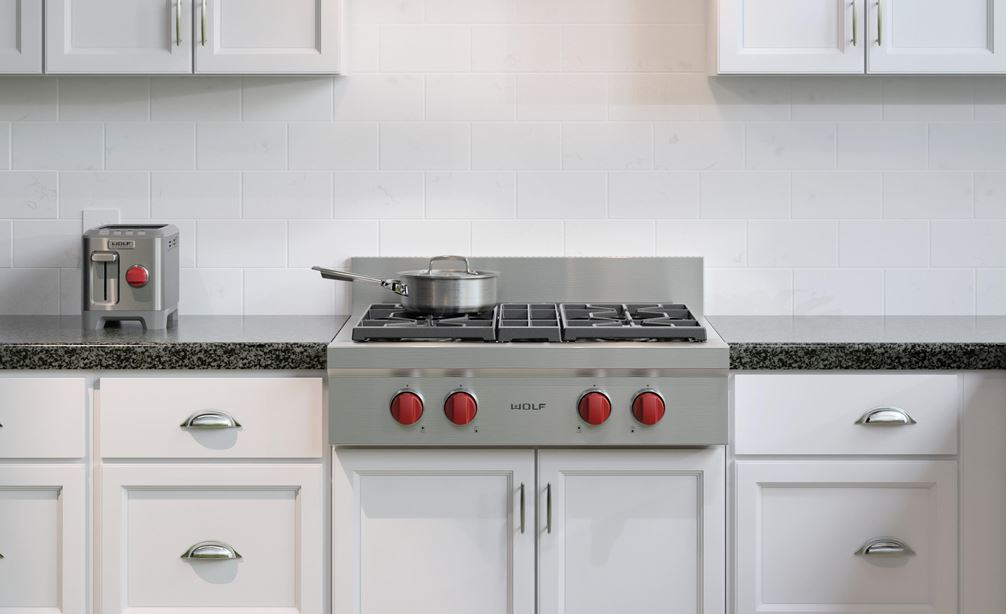 "The Wolf 30"" Sealed 4 Burner Rangetop (SRT304) paired with Wolf 30"" Low Profile Wall Hood (PW302210)"