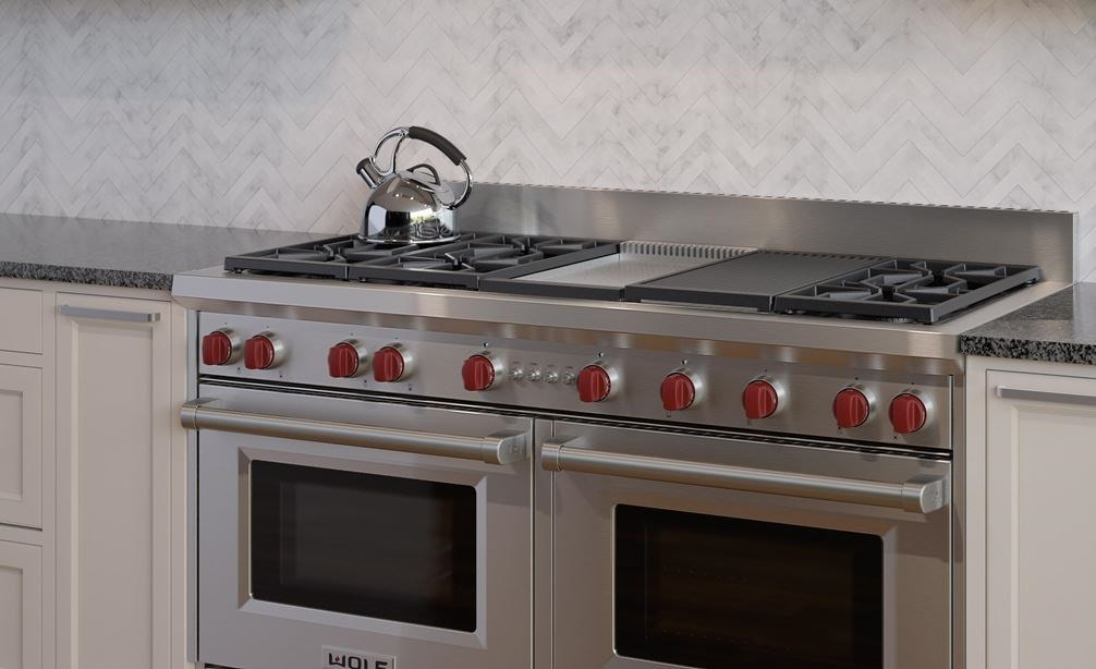 "The Wolf 60"" Gas Range 6 Burner Infrared Charbroiler Griddle (GR606CG) with Wolf 60"" Pro Wall Hood - 27"" Depth (PW602718)"