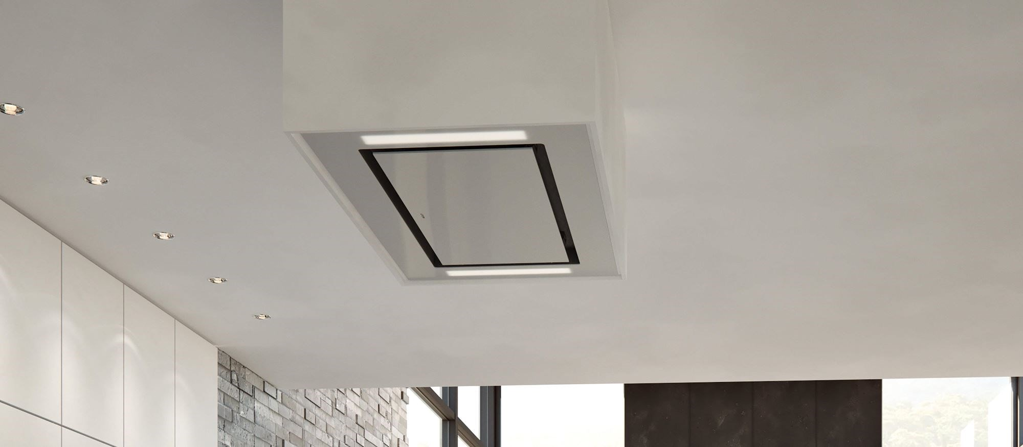 Wolf 36 Ceiling Mounted Hood White Glass Vc36w