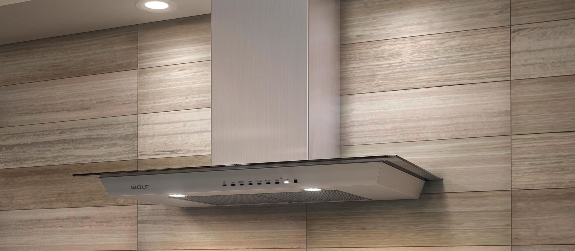 "Wolf 36"" Cooktop Wall Hood - Glass (VW36G)"