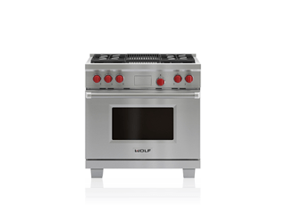"Wolf 36"" Dual Fuel Range - 4 Burners, Infrared Charbroiler DF364C"