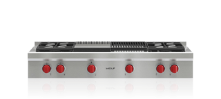 "Wolf 48"" Sealed Burner Rangetop - 4 Burners, Infrared Charbroiler and Infrared Griddle SRT484CG"