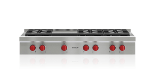 "Wolf 48"" Sealed Burner Rangetop - 6 Burners and Infrared Griddle SRT486G"